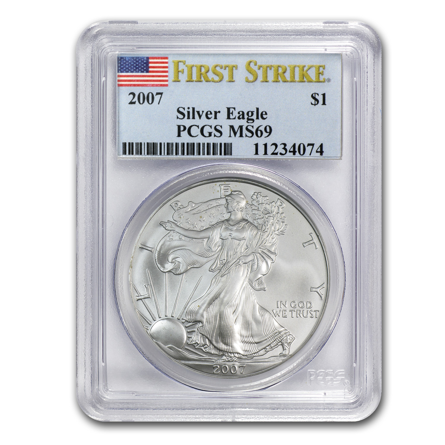 2007 Silver American Eagle MS-69 PCGS (First Strike)