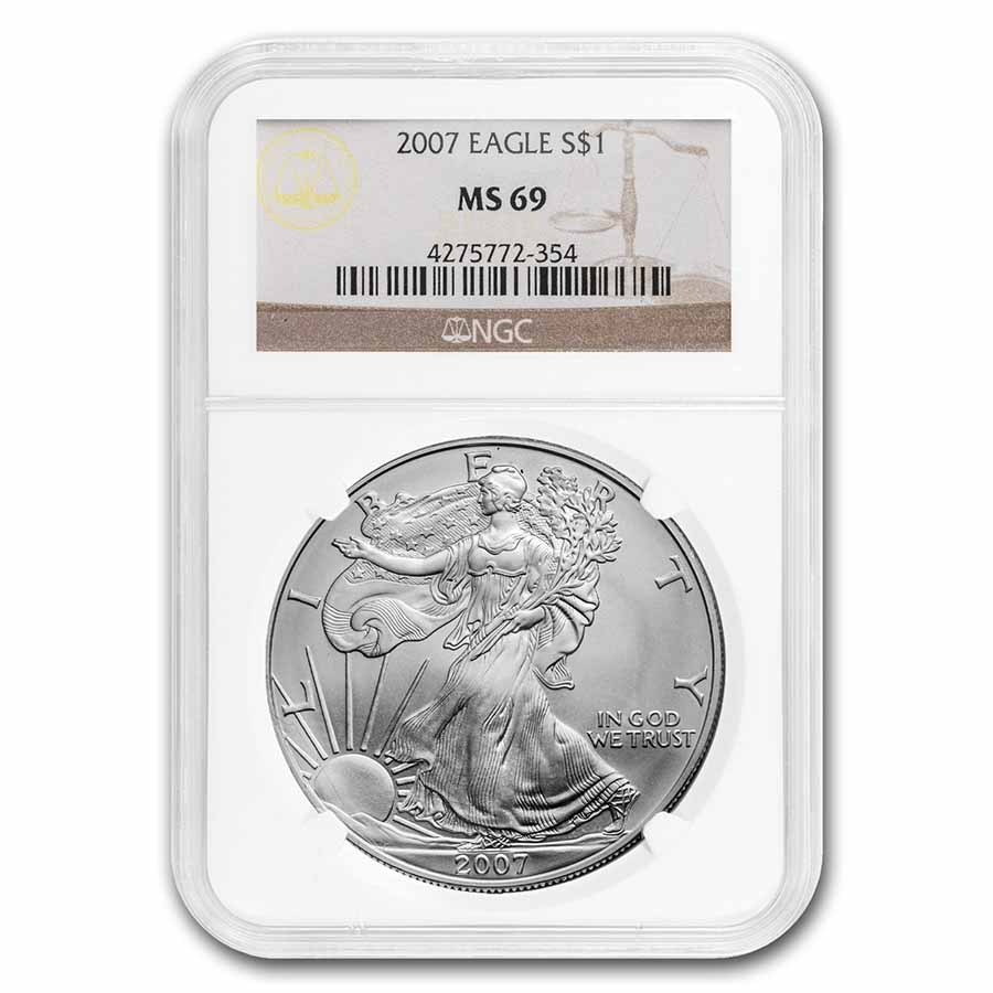 2007 Silver American Eagle MS-69 NGC