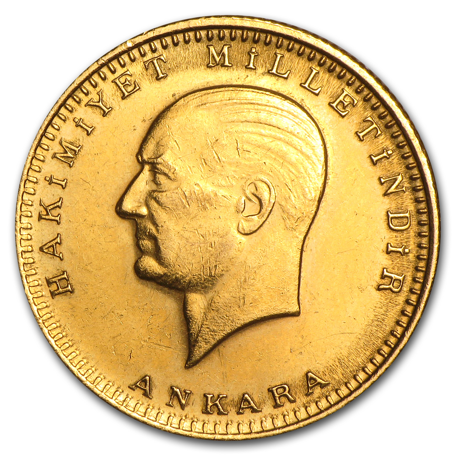 Turkey 1923/XX Gold 100 Kurush Coin (Average Circulated)