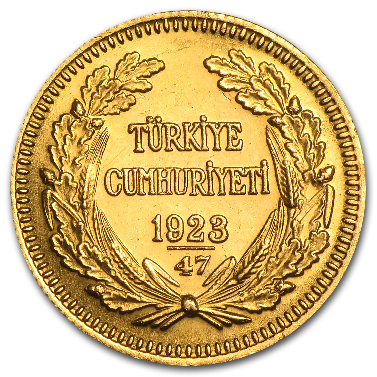 1923/XX Turkey Gold 100 Kurush Average Circ (Random)