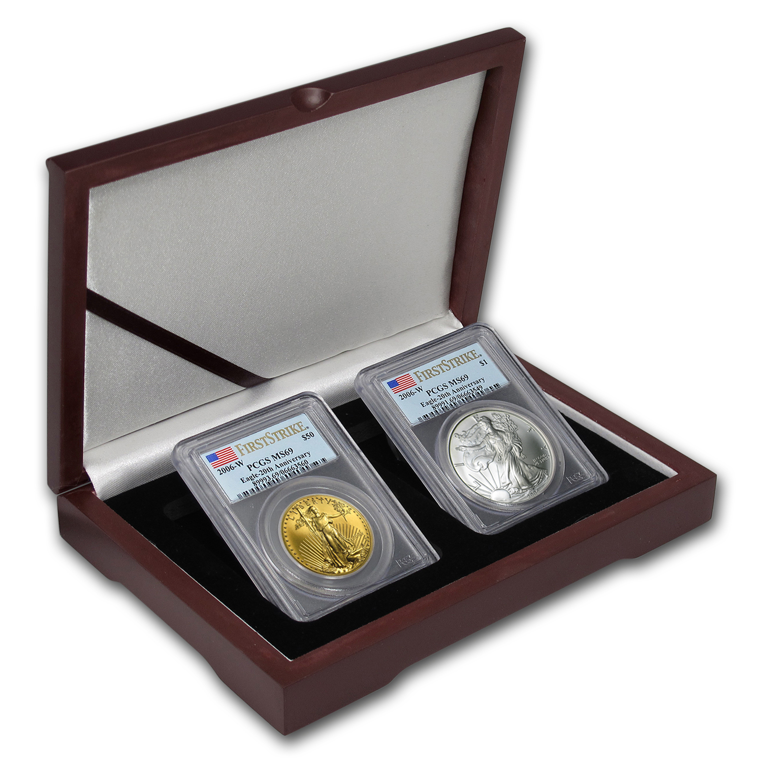 2006-W 2-Coin Burnished Gold & Silver Eagle Set MS-69 PCGS (FS)