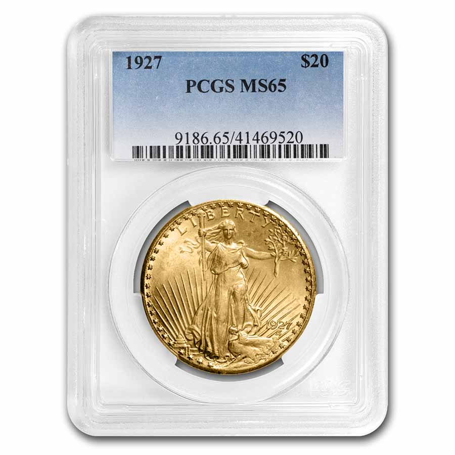 1927 $20 St. Gaudens Gold Double Eagle MS-65 PCGS