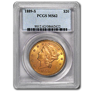 1889-S $20 Gold Liberty Double Eagle MS-62 PCGS
