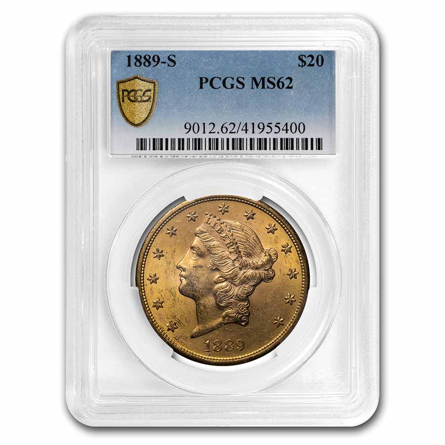 1889-S $20 Liberty Gold Double Eagle MS-62 PCGS