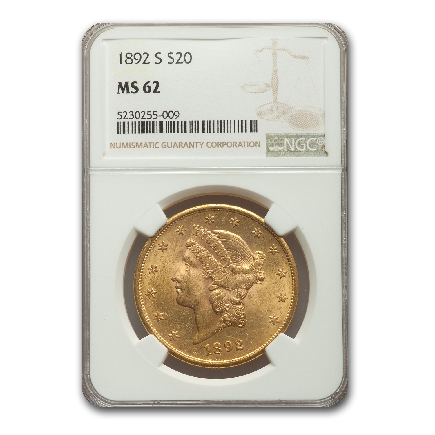 1892-S $20 Liberty Gold Double Eagle MS-62 NGC