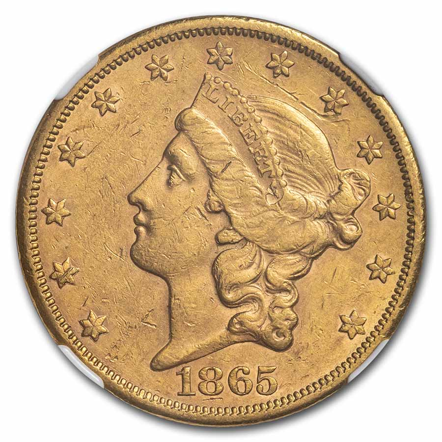 1865-S $20 Liberty Gold Double Eagle AU-55 NGC