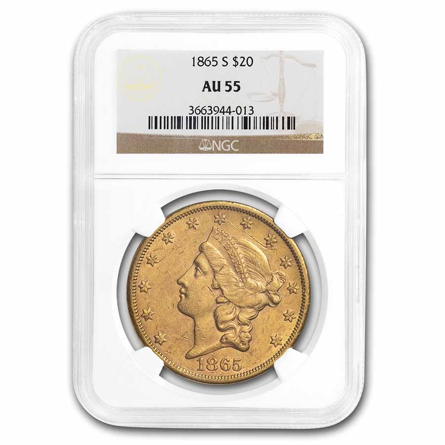 1865-S $20 Gold Liberty Double Eagle - AU-55 NGC