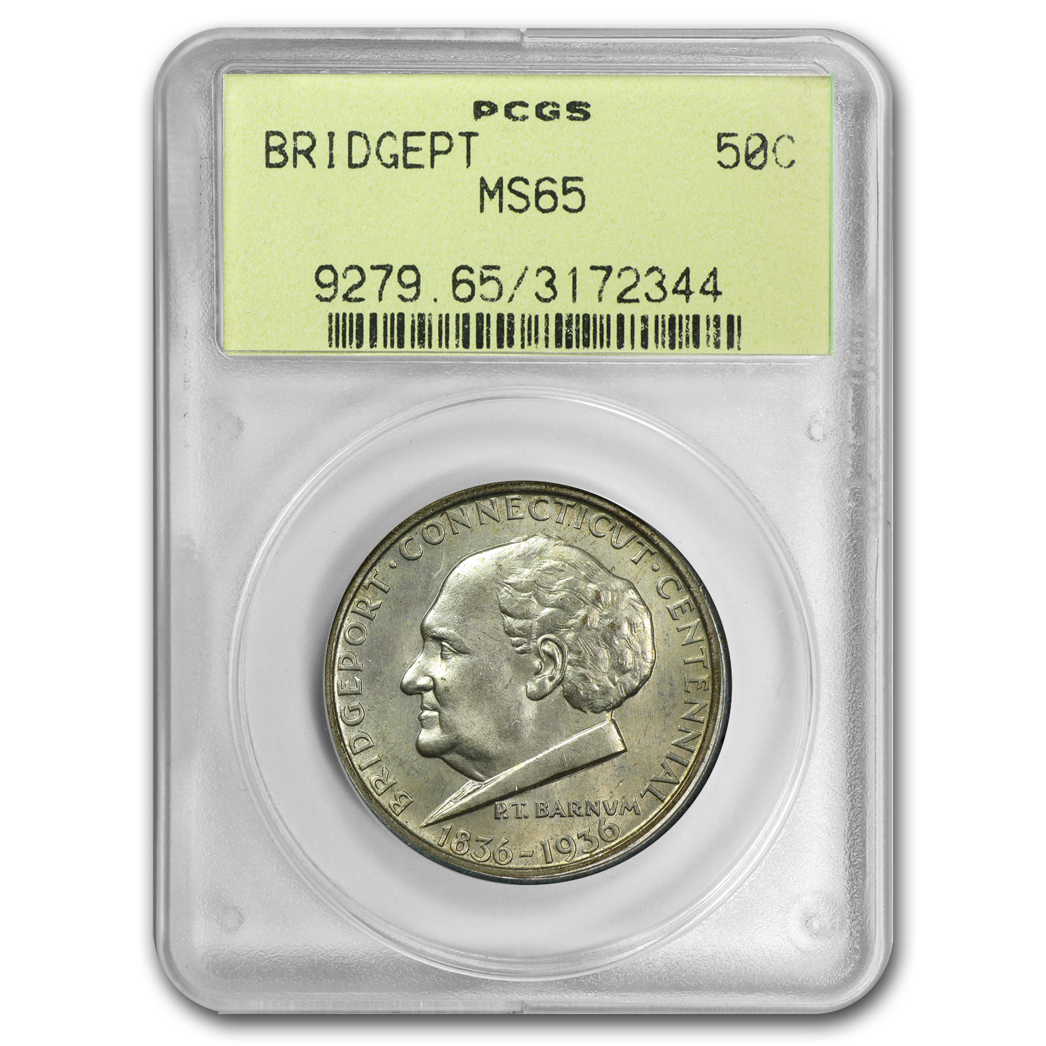 1936 Bridgeport Centennial MS-65 PCGS Nice Coin