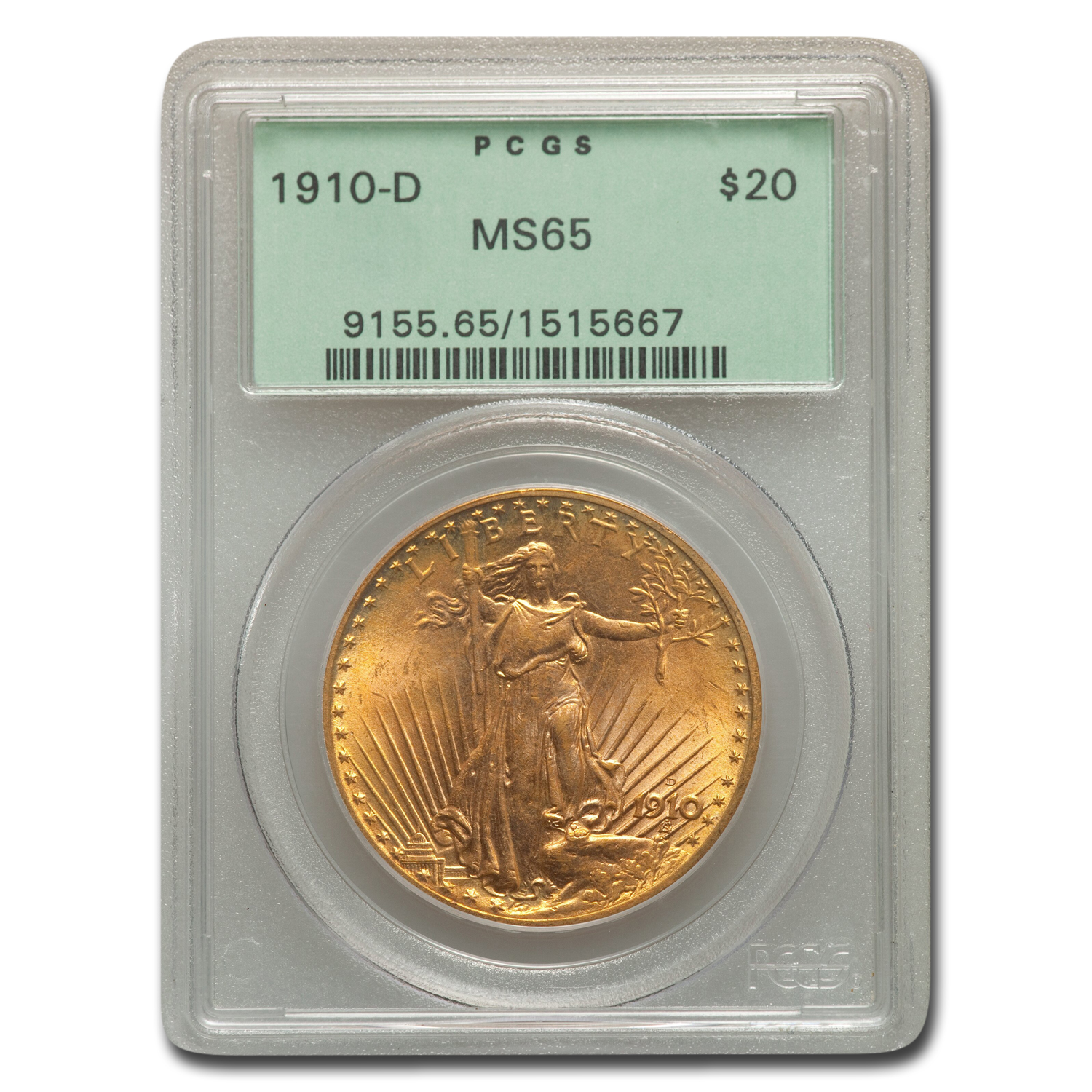 1910-D $20 St. Gaudens Gold Double Eagle MS-65 PCGS