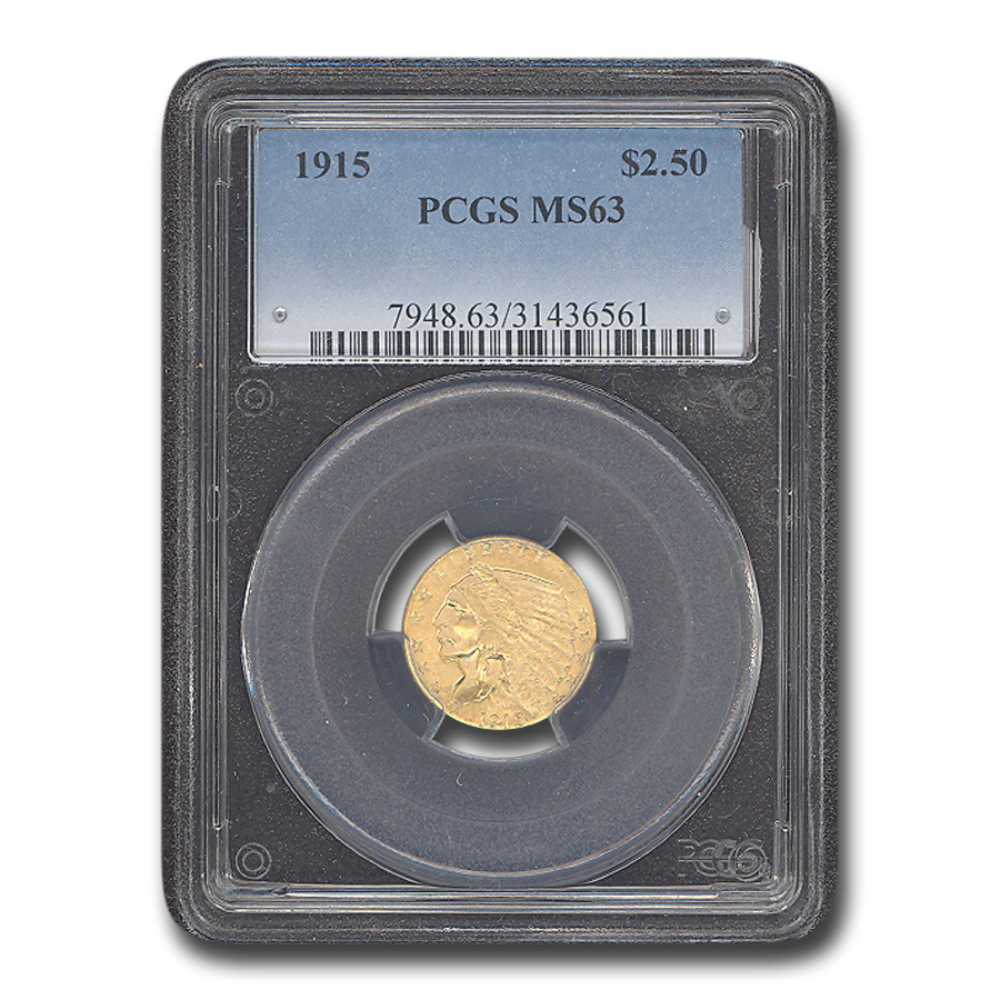 1915 $2.50 Indian Gold Quarter Eagle MS-63 PCGS