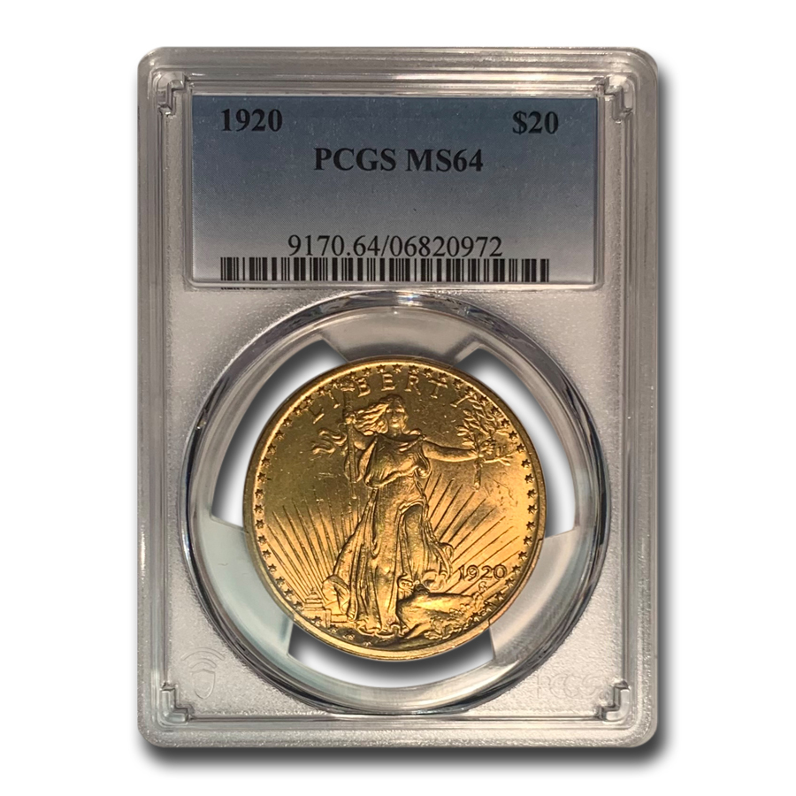 1920 $20 St. Gaudens Gold Double Eagle - MS-64 PCGS