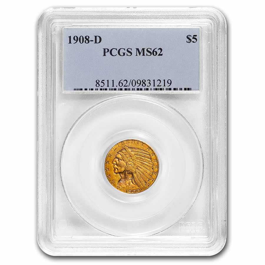 1908-D $5 Indian Gold Half Eagle MS-62 PCGS