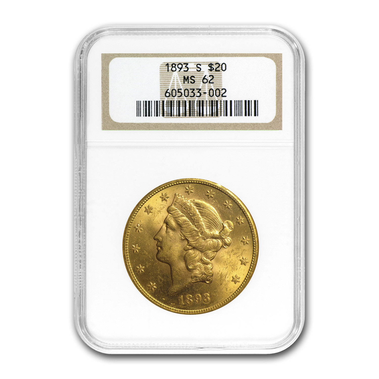 1893-S $20 Liberty Gold Double Eagle MS-62 NGC