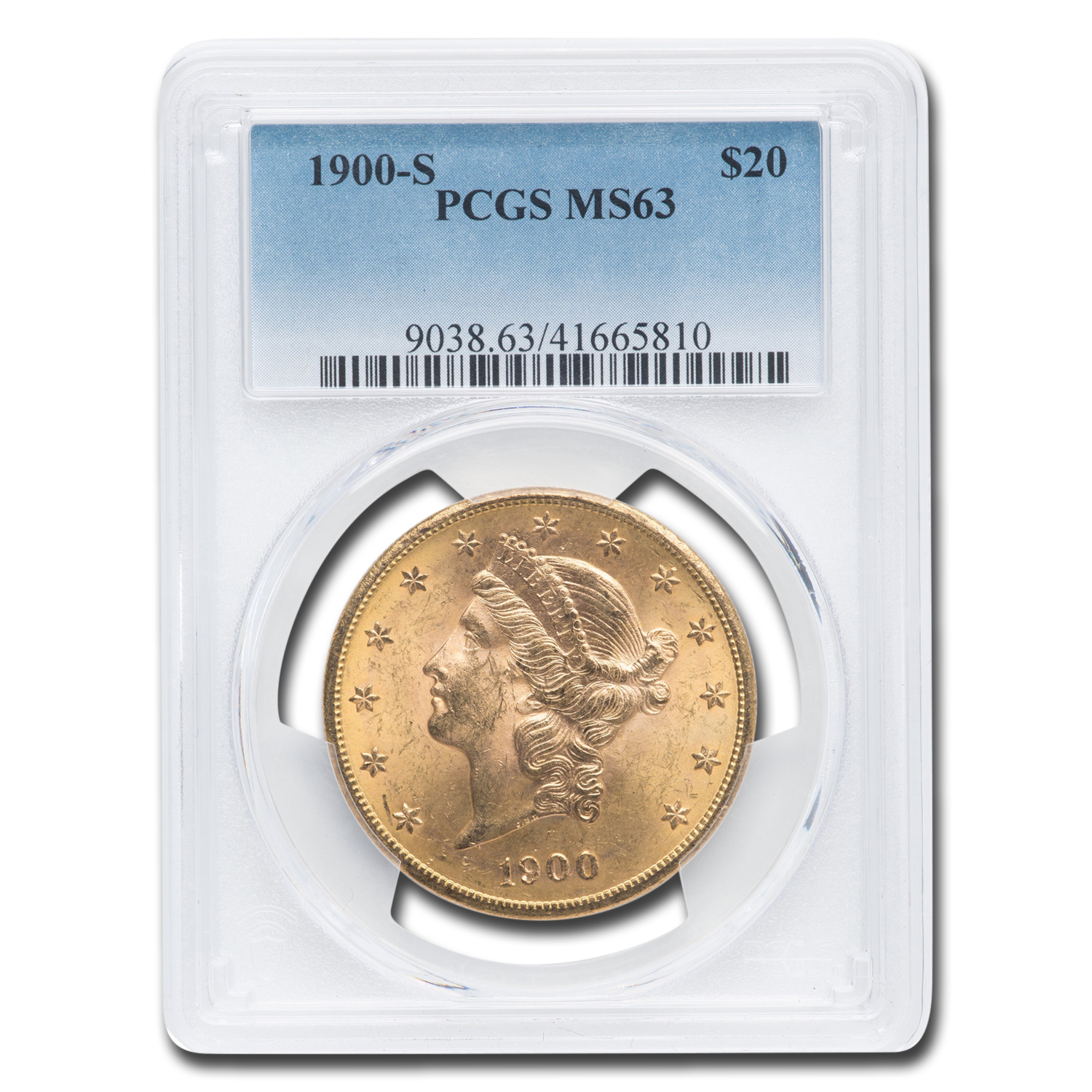 1900-S $20 Liberty Gold Double Eagle MS-63 PCGS