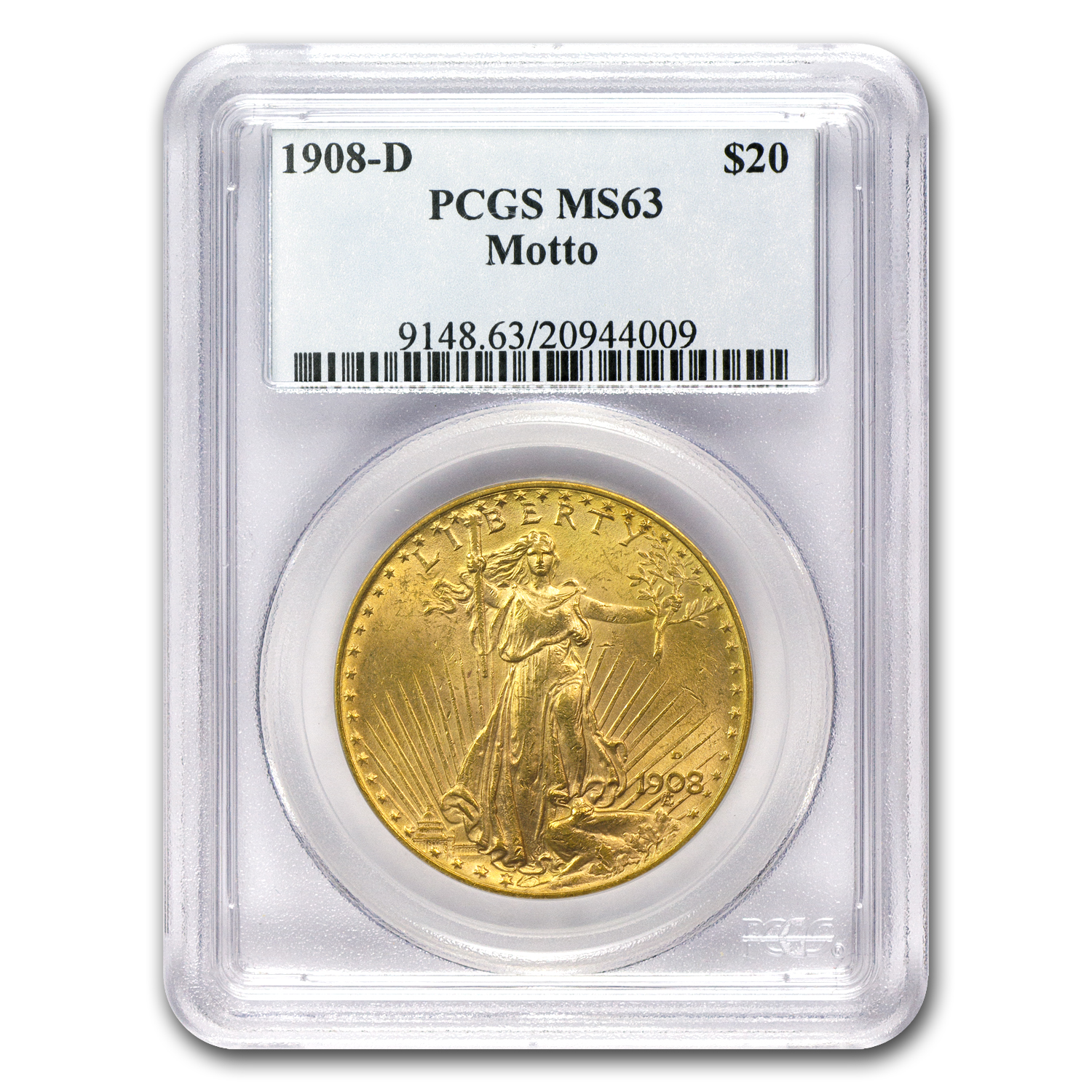 1908-D $20 St. Gaudens Gold - With Motto - MS-63 PCGS