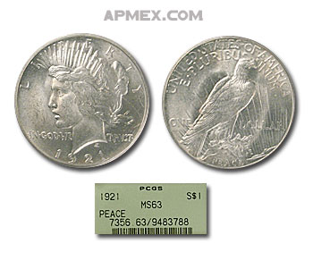 1921 Peace Dollar MS-63 PCGS (Green Label)
