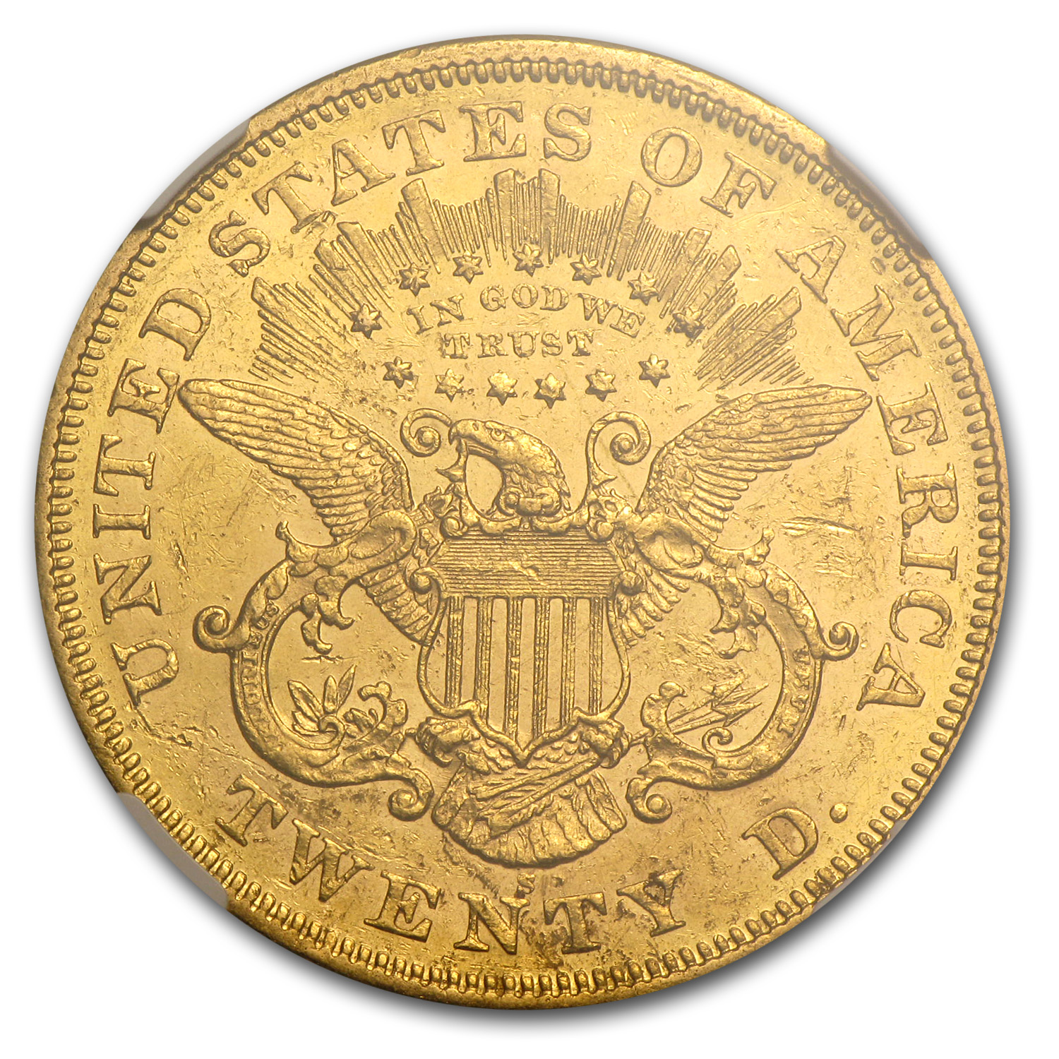 1874-S $20 Gold Liberty Double Eagle - AU-53 NGC