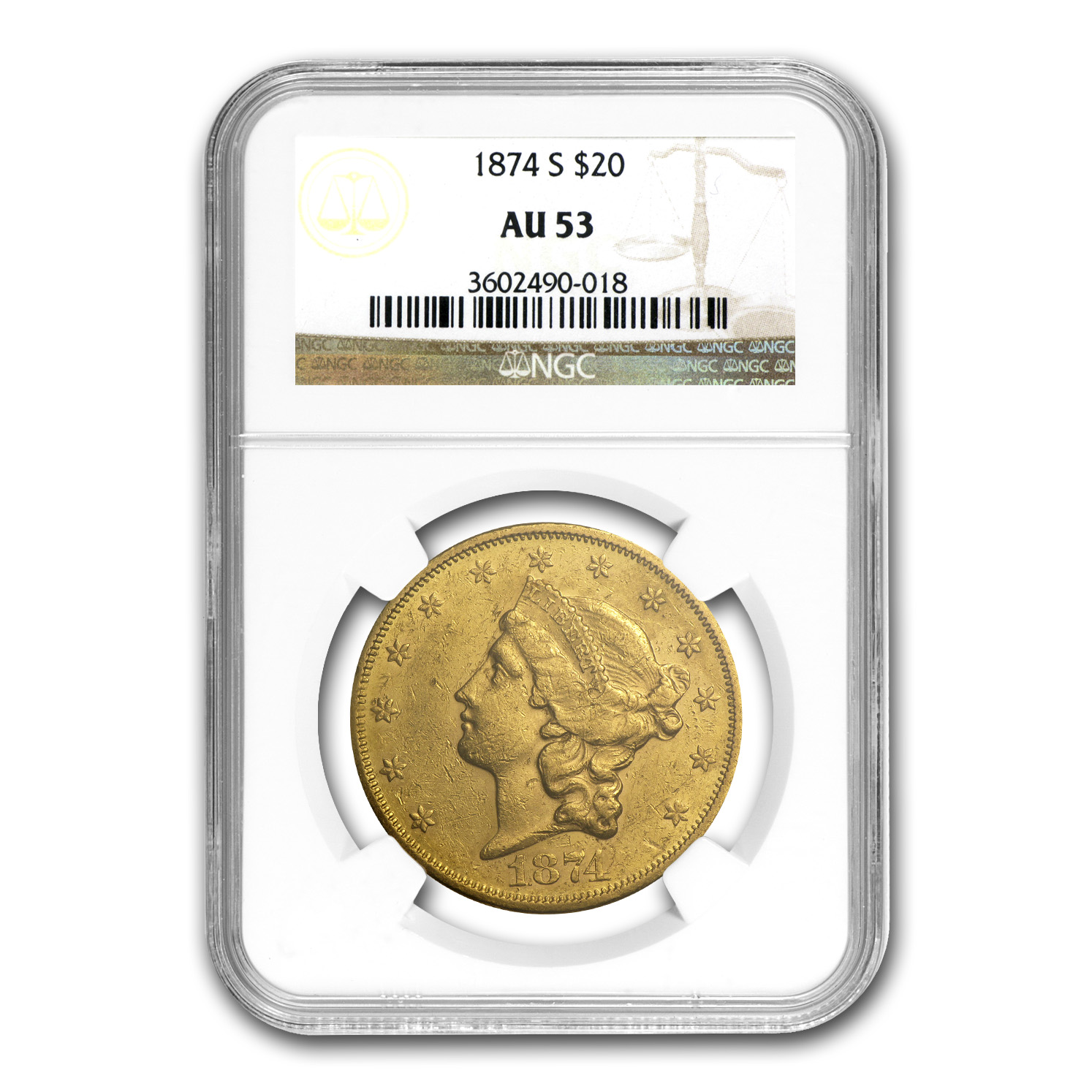 1874-S $20 Liberty Gold Double Eagle AU-53 NGC
