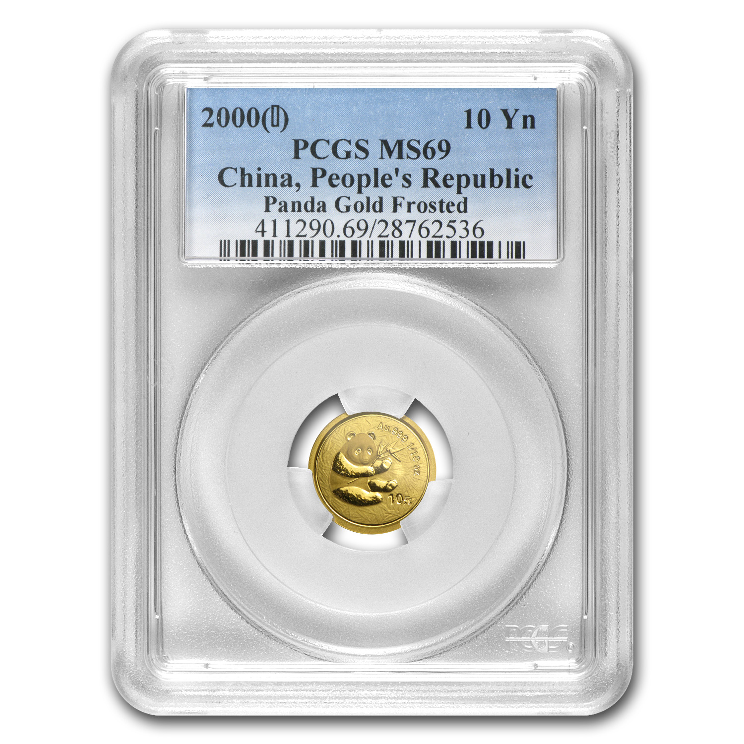 2000 (1/10 oz) Gold Chinese Pandas - (Frosted) MS-69 PCGS