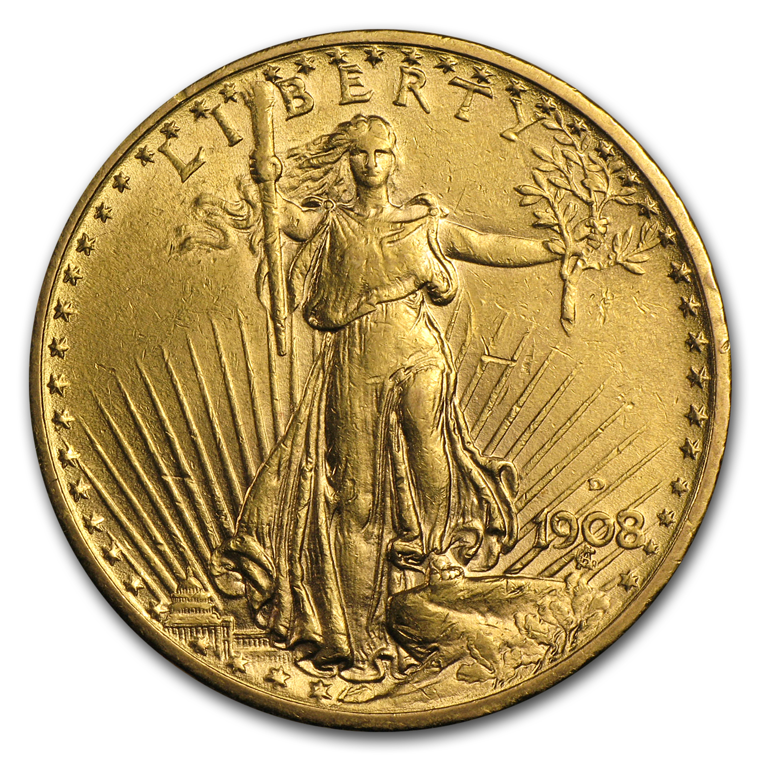 1908-D $20 Saint-Gaudens Gold Double Eagle w/Motto AU