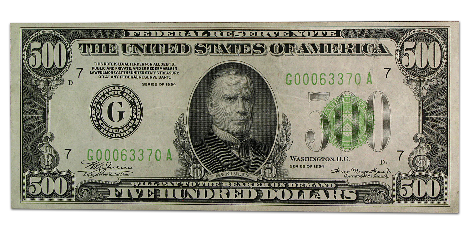 1934 (G-Chicago) $500 FRN XF