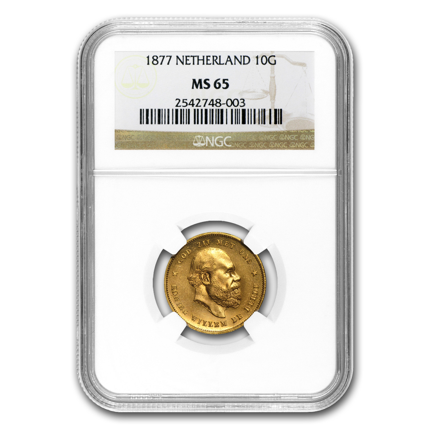 Netherlands 1877 Gold 10 Guilder - MS-65 NGC