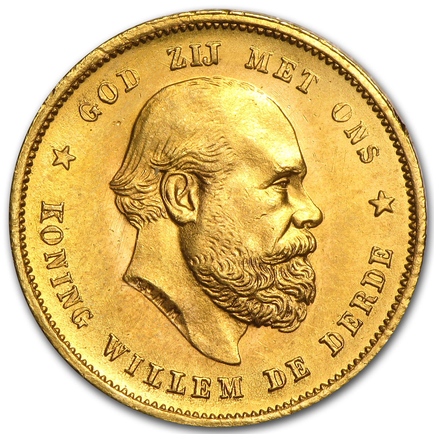 Netherlands 1887 Gold 10 Guilder (BU)