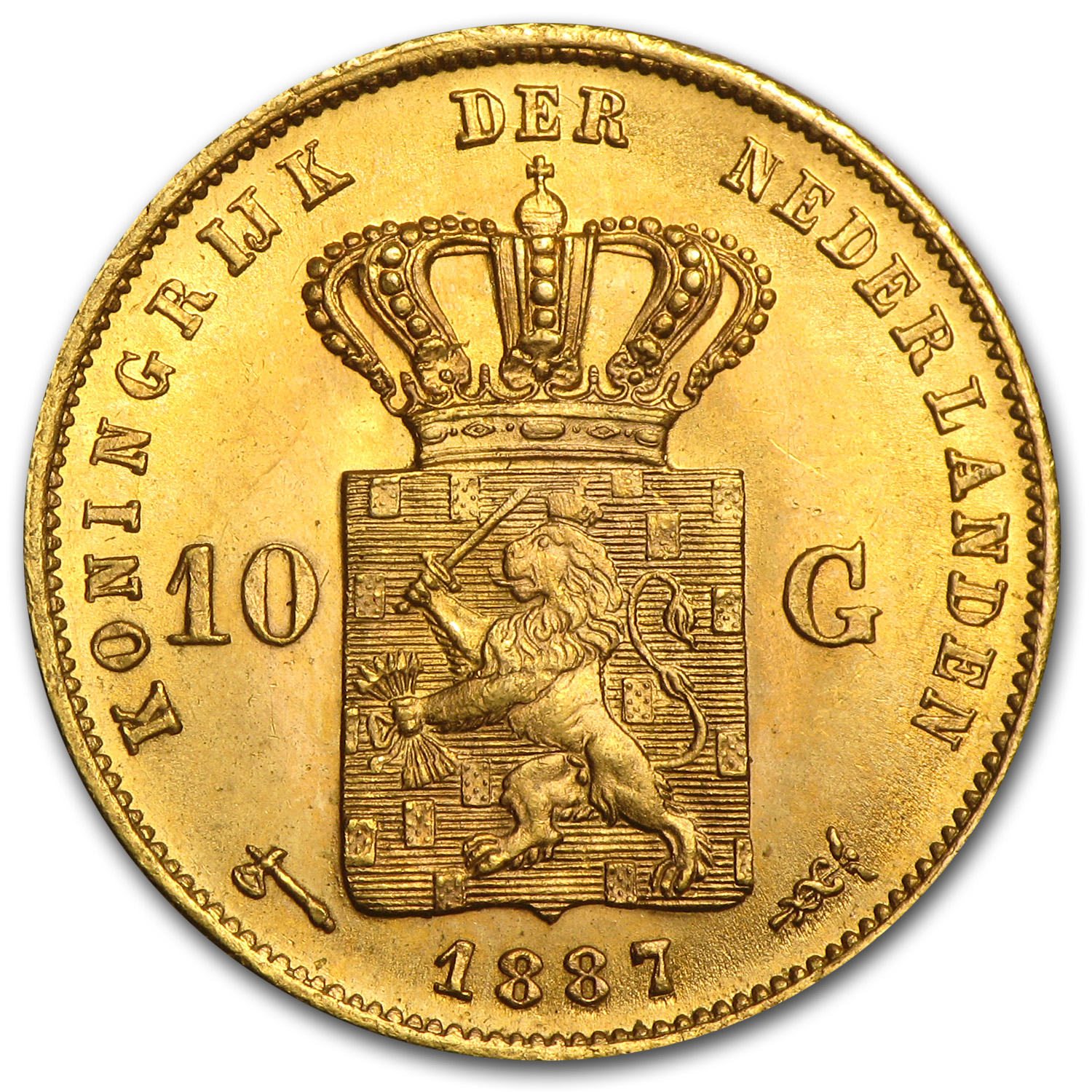 1887 Netherlands Gold 10 Guilder BU