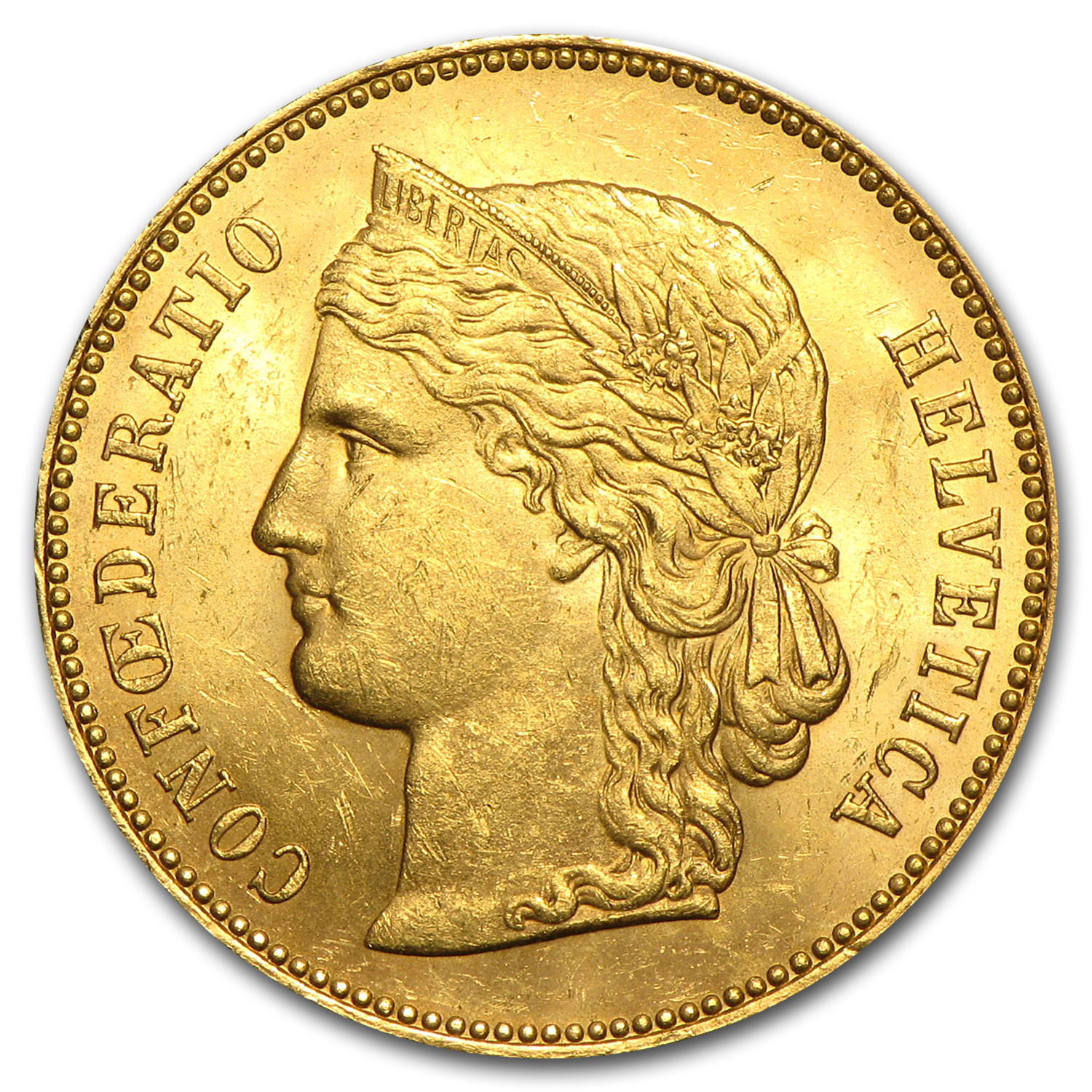 1883-1896 Switzerland Gold 20 Francs AU (AGW .1867)