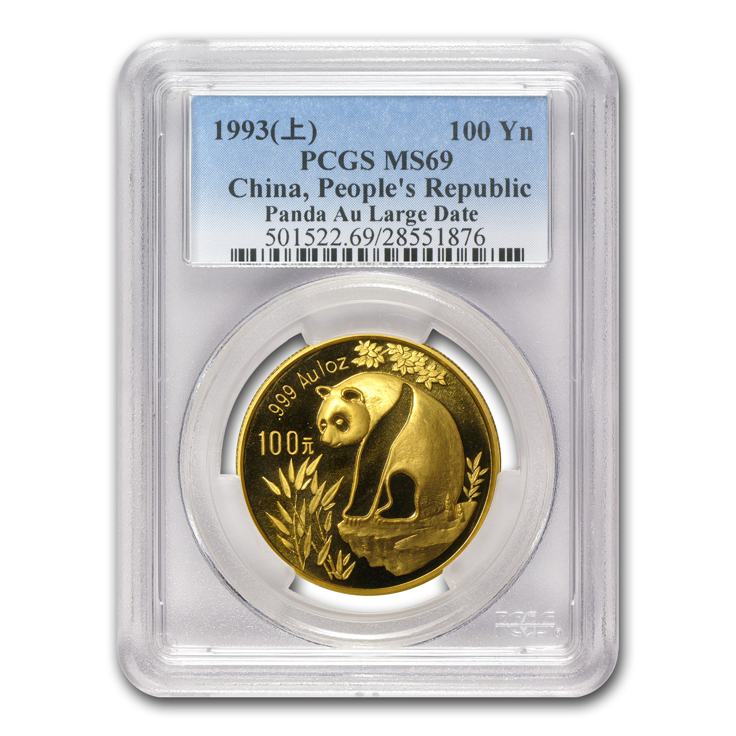 1993 1 oz Gold Chinese Panda - Large Date MS-69 PCGS