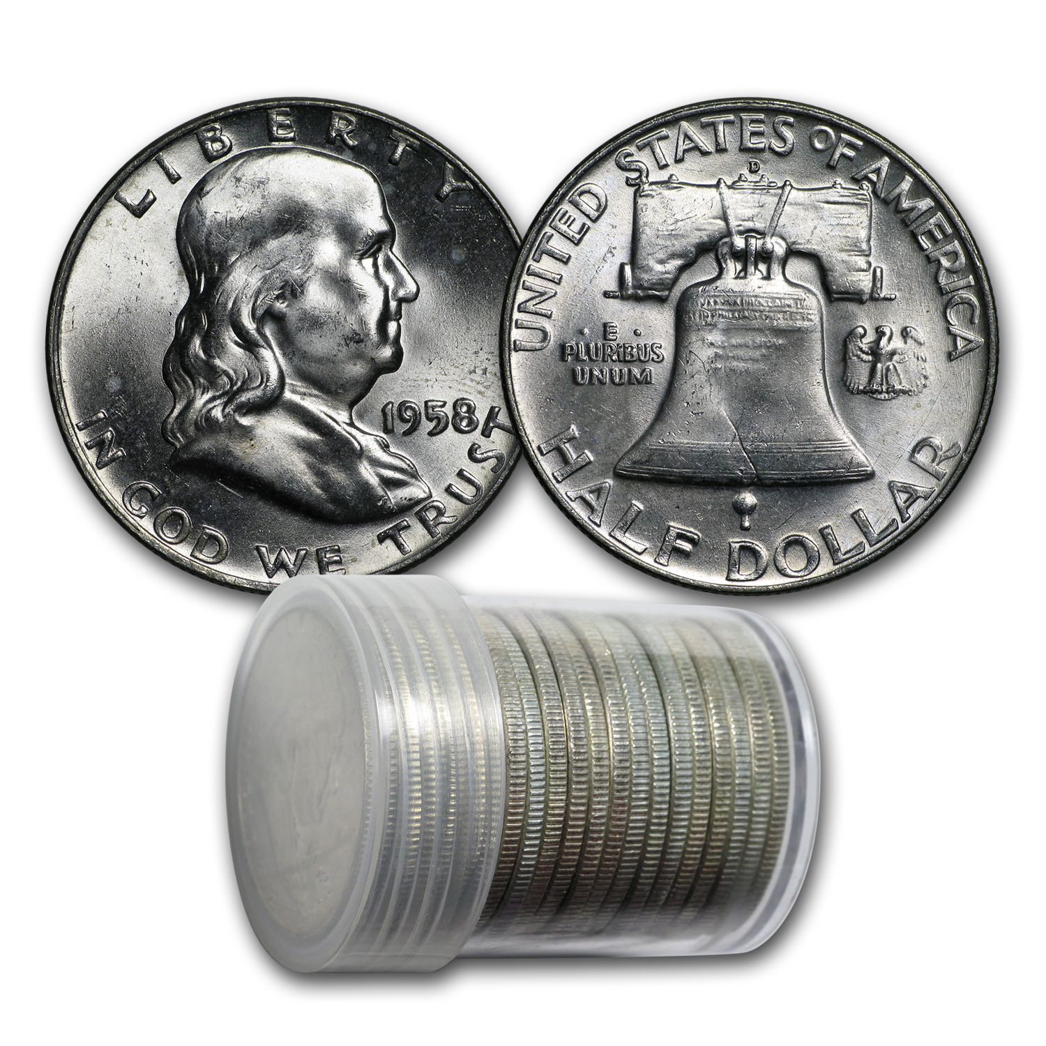 1958-D Franklin Half Dollar 20-Coin Roll BU