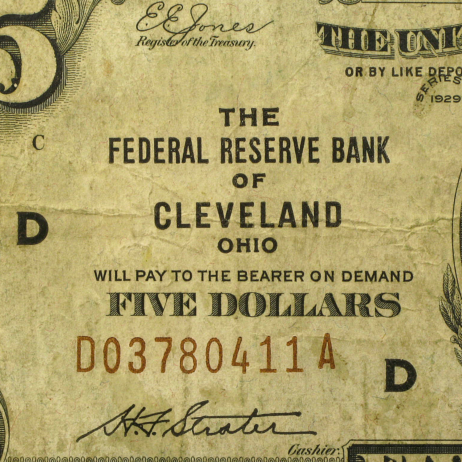 1929 (D-Cleveland) $5.00 Brown Seal FRBN VF