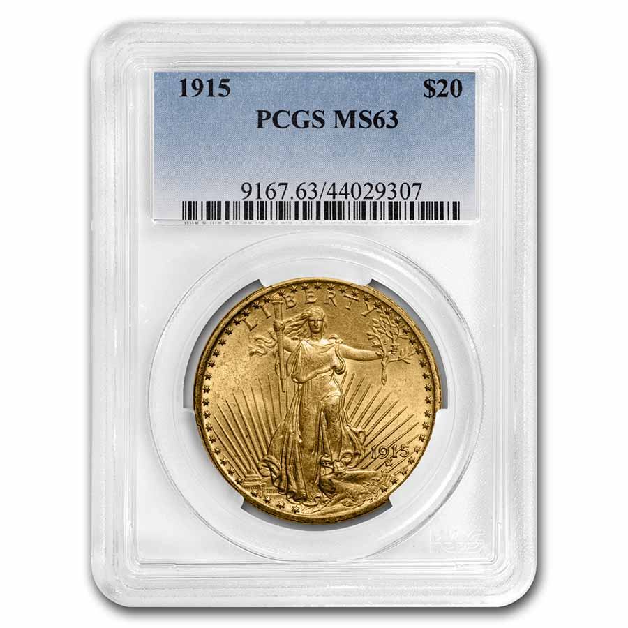 1915 $20 St. Gaudens Gold Double Eagle MS-63 PCGS