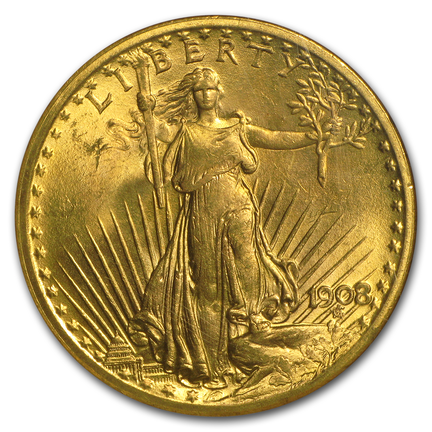 1908 $20 St. Gaudens Gold No Motto MS-65 NGC (Wells Fargo)