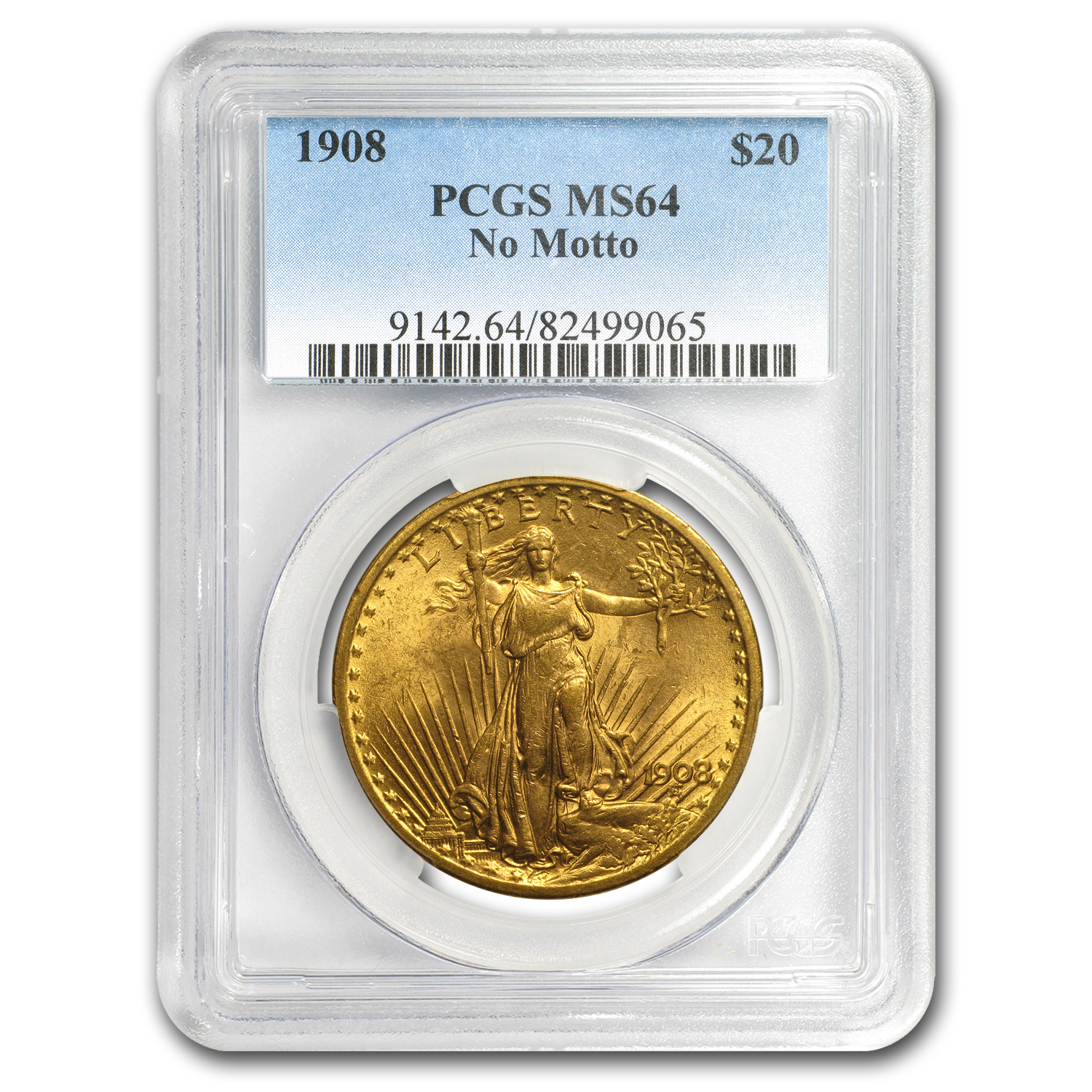 1908 $20 St. Gaudens Gold Double Eagle - No Motto - MS-64 PCGS