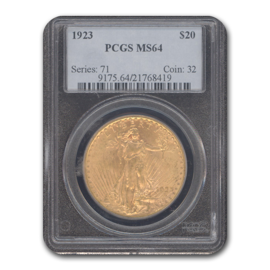 1923 $20 St. Gaudens Gold Double Eagle MS-64 PCGS
