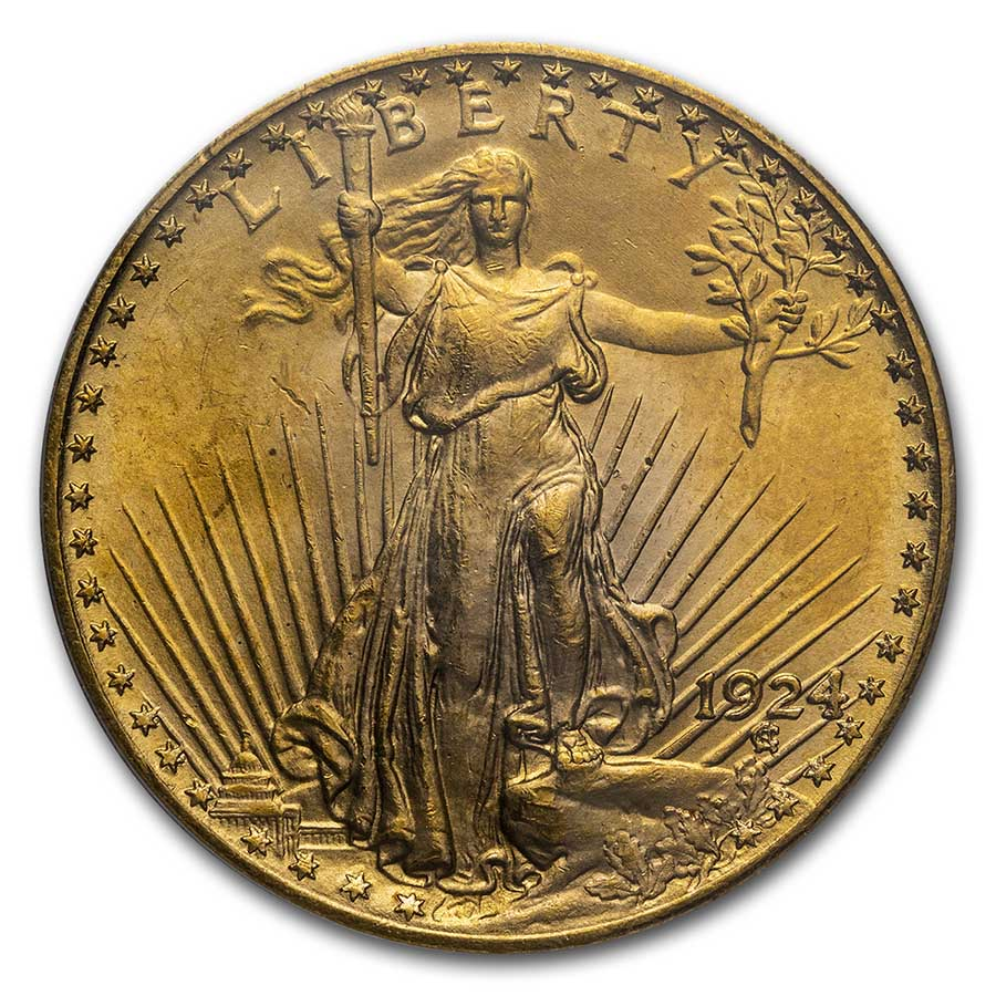 1924 $20 St. Gaudens Gold Double Eagle - MS-64 PCGS