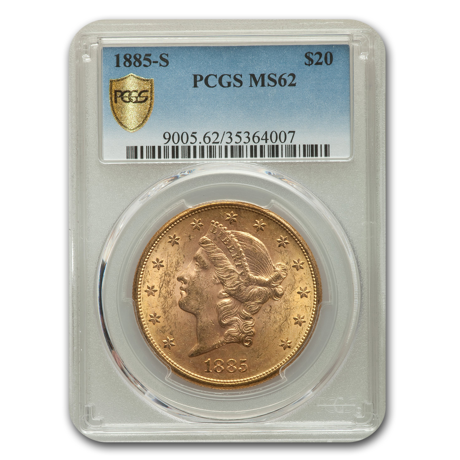 1885-S $20 Gold Liberty Double Eagle - MS-62 PCGS