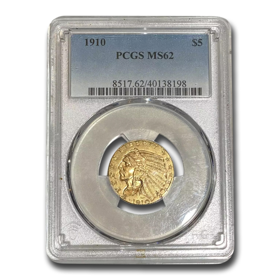 1910 $5 Indian Gold Half Eagle MS-62 PCGS