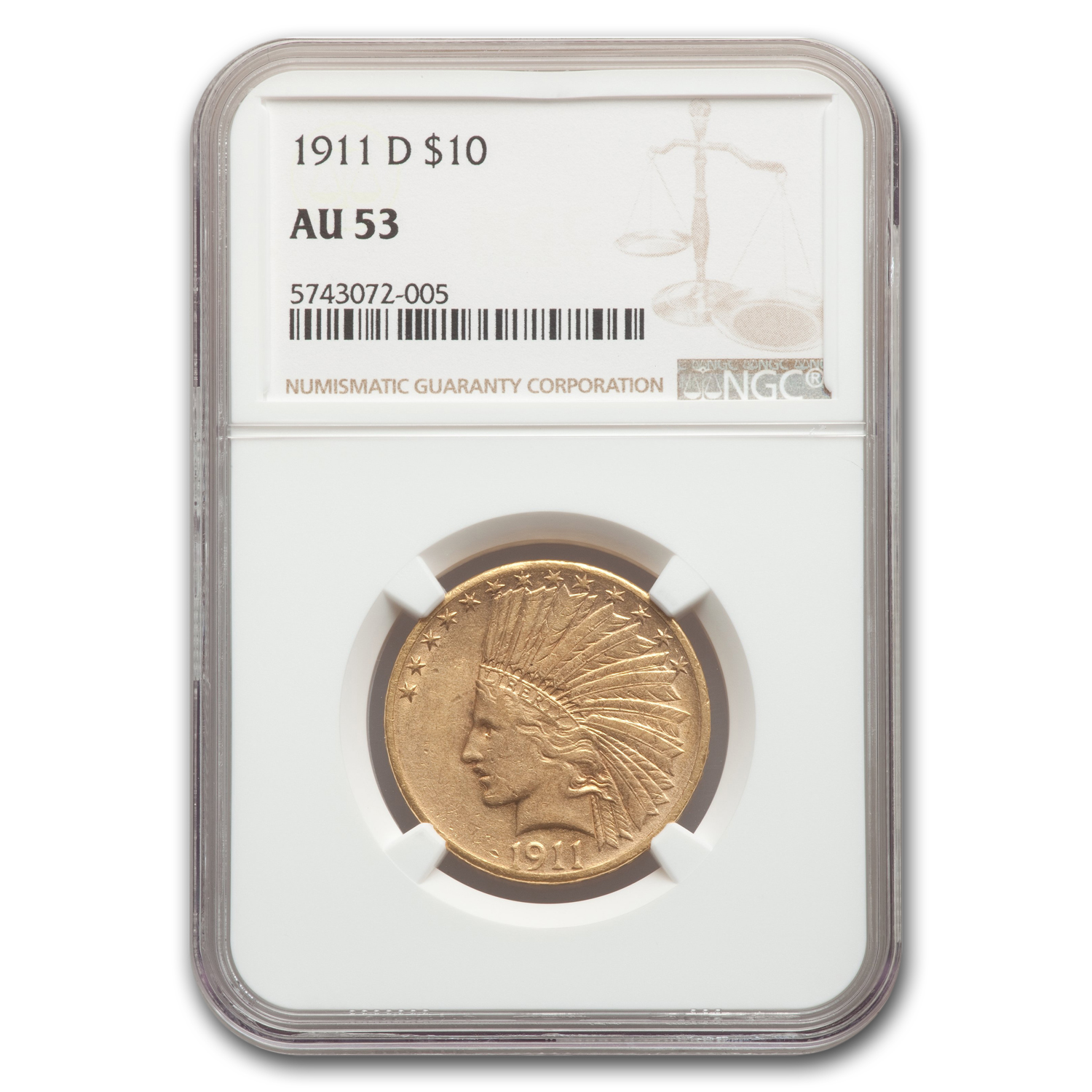 1911-D $10 Indian Gold Eagle AU-53 NGC