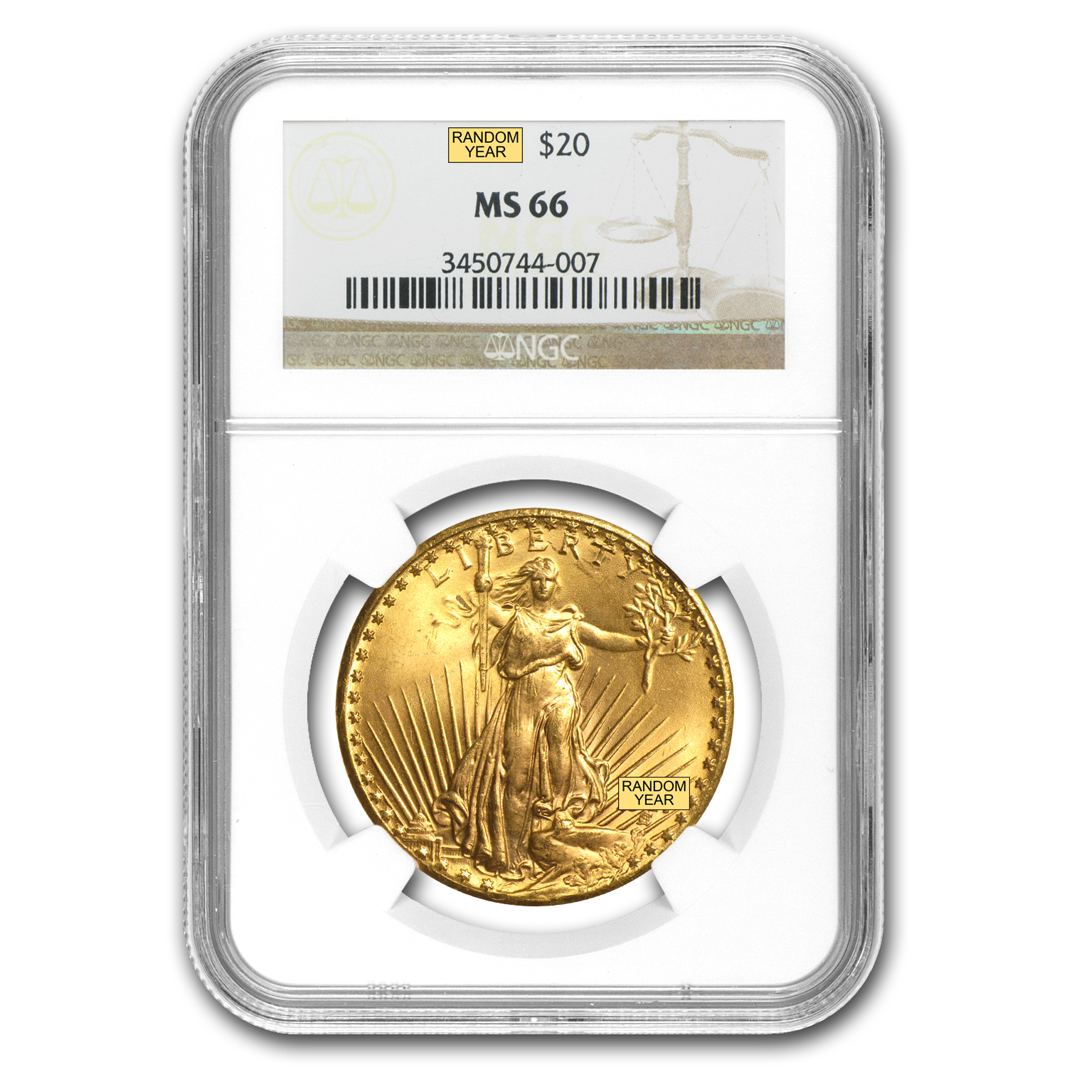 $20 Saint-Gaudens Gold Double Eagle MS-66 NGC (Random)