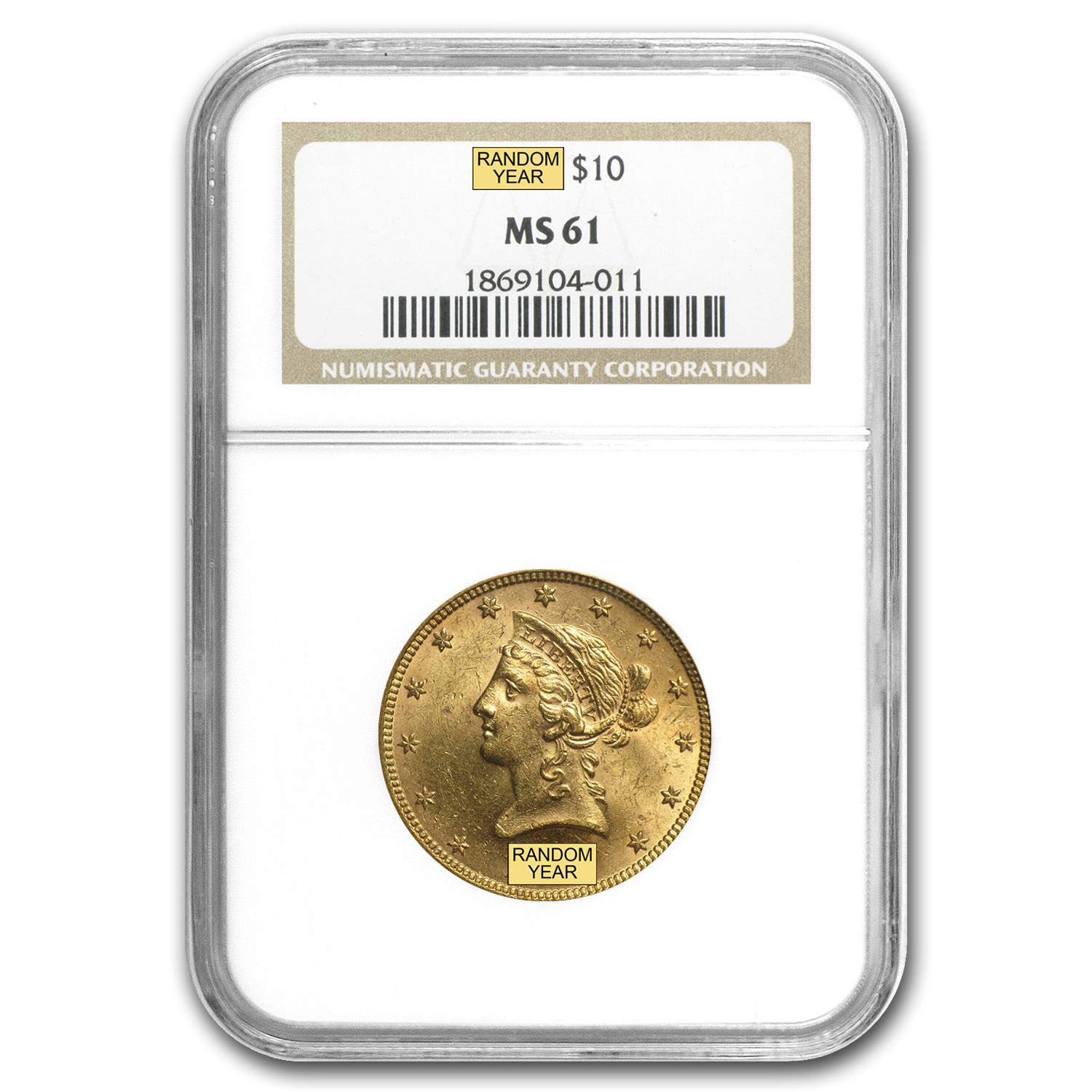 $10 Liberty Gold Eagle - MS-61 NGC