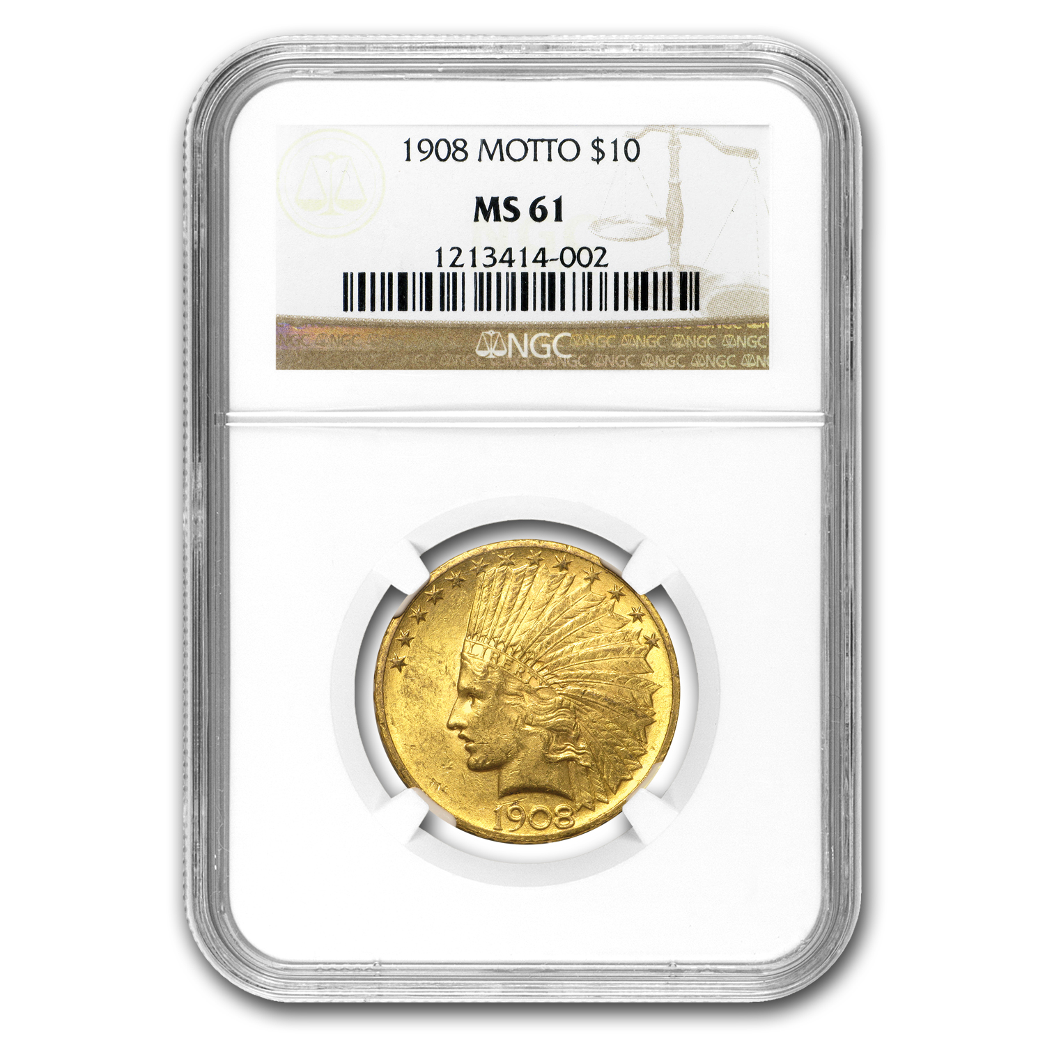 $10 Indian Gold Eagle - MS-61 NGC