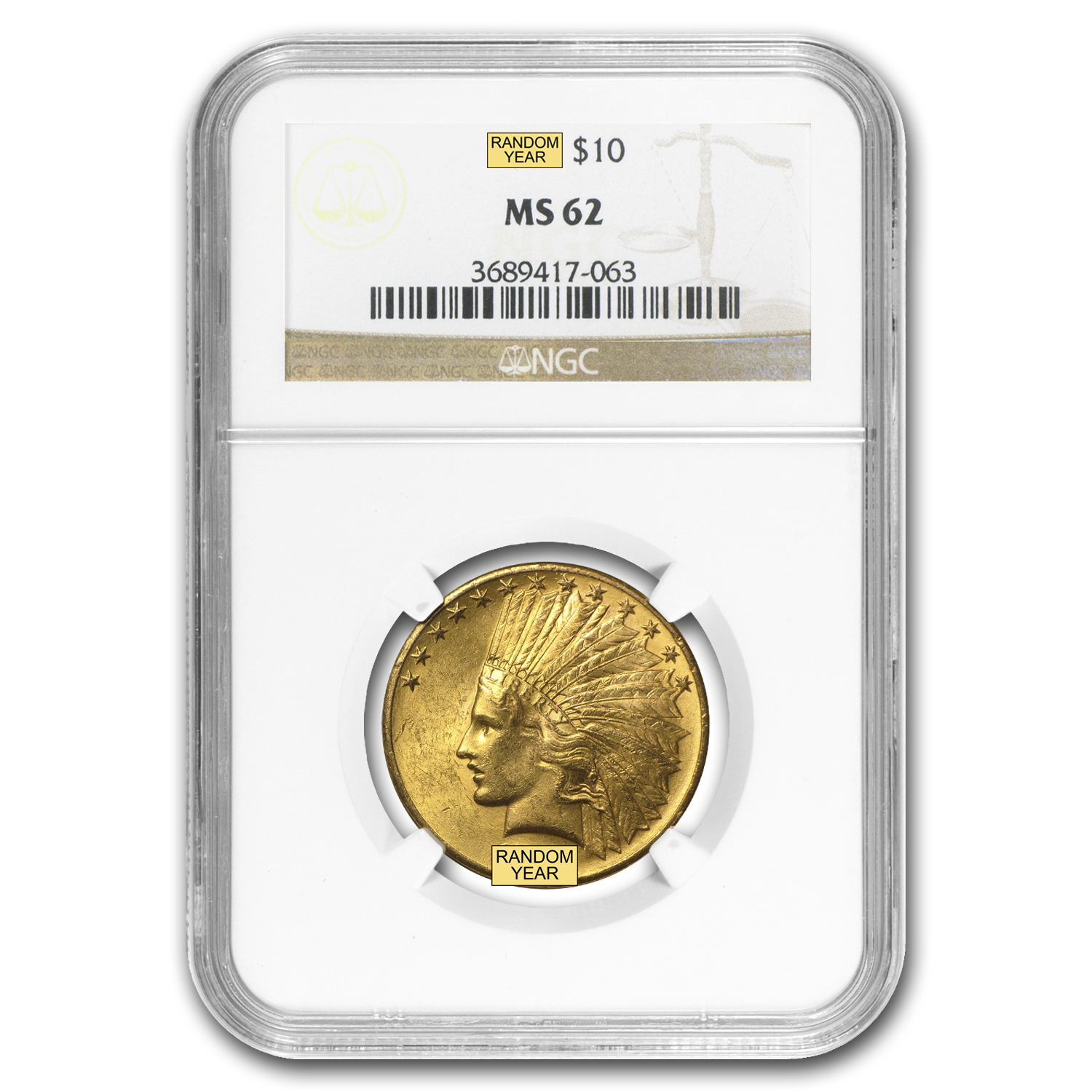 $10 Indian Gold Eagle MS-62 NGC (Random)