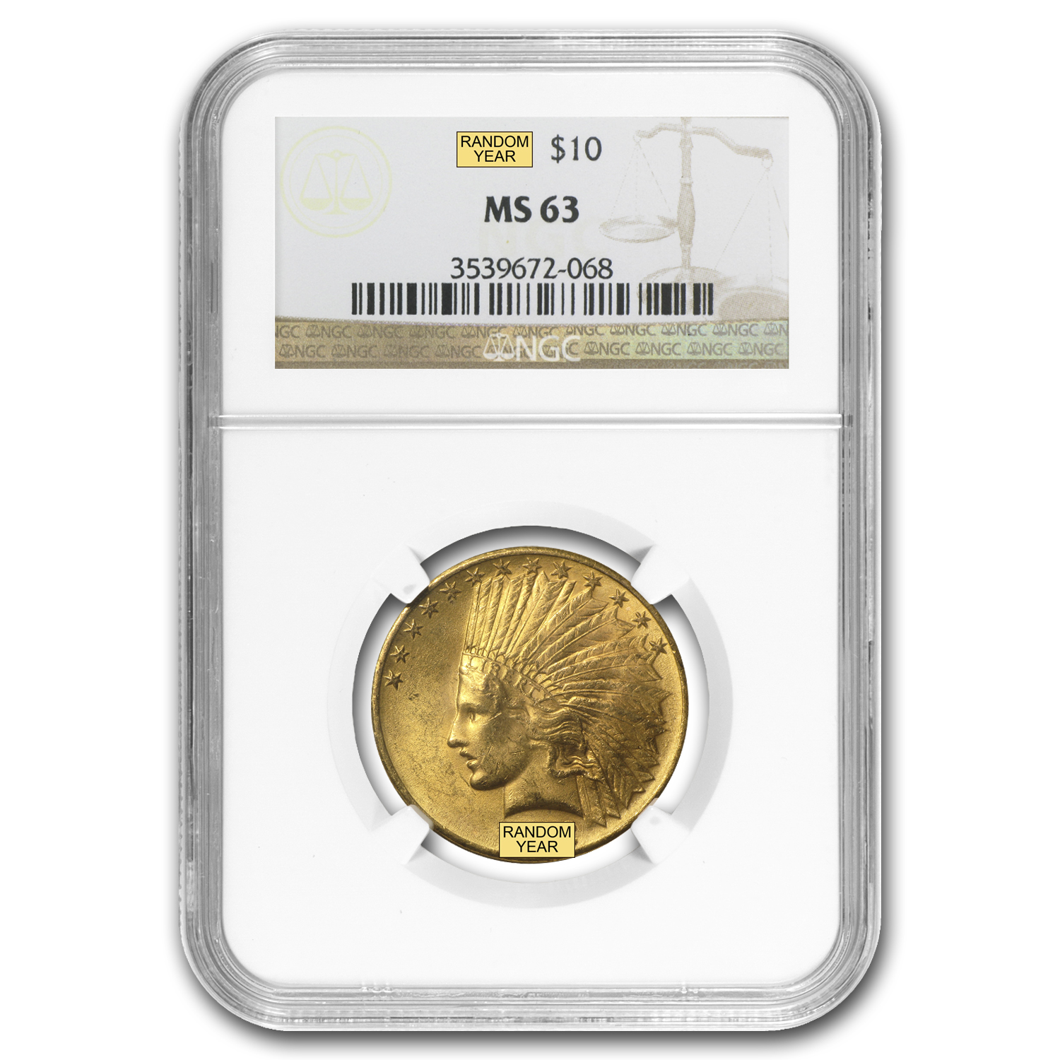 $10 Indian Gold Eagle MS-63 NGC (Random)