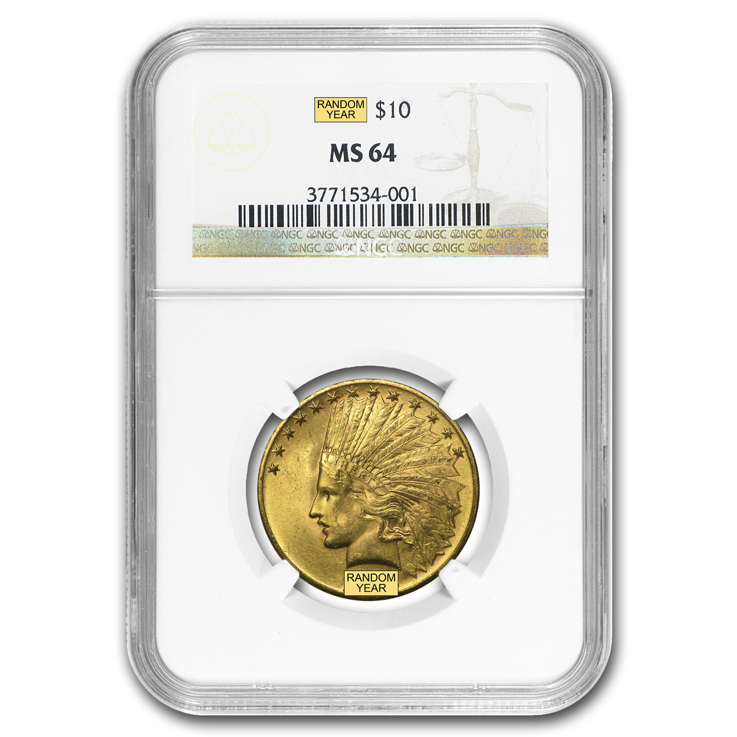 $10 Indian Gold Eagle MS-64 NGC (Random)