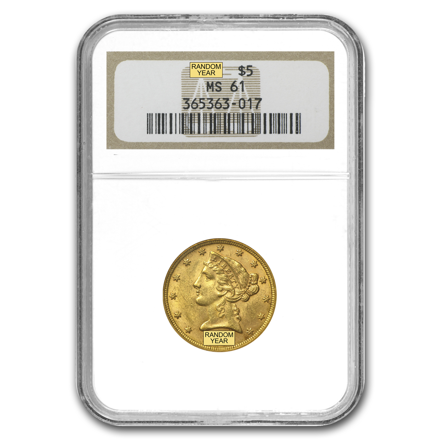$5 Liberty Gold Half Eagle MS-61 NGC