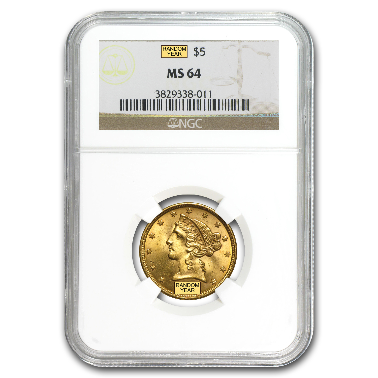 $5 Liberty Gold Half Eagle MS-64 NGC
