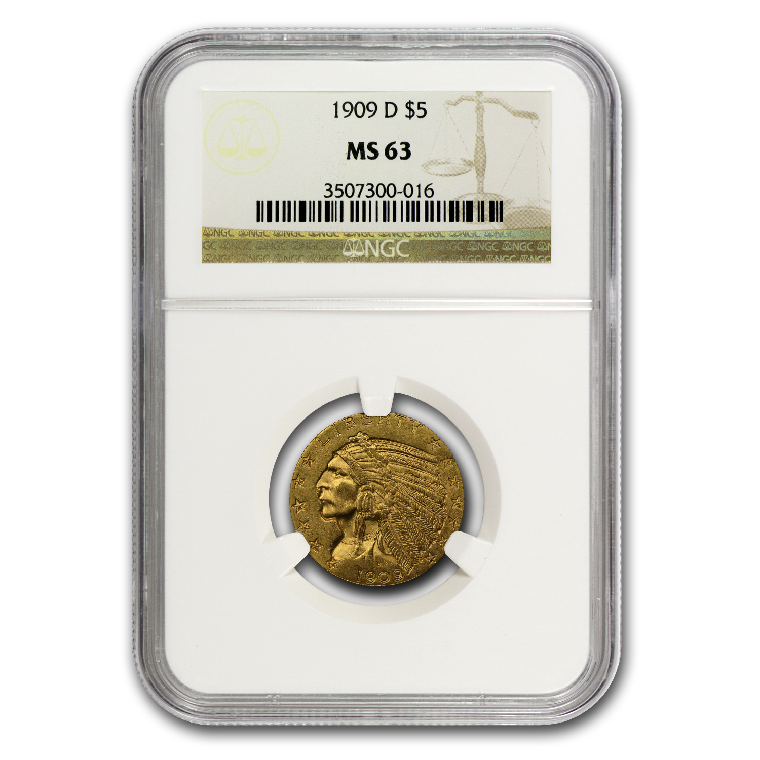 $5 Indian Gold Half Eagle - MS-63 NGC