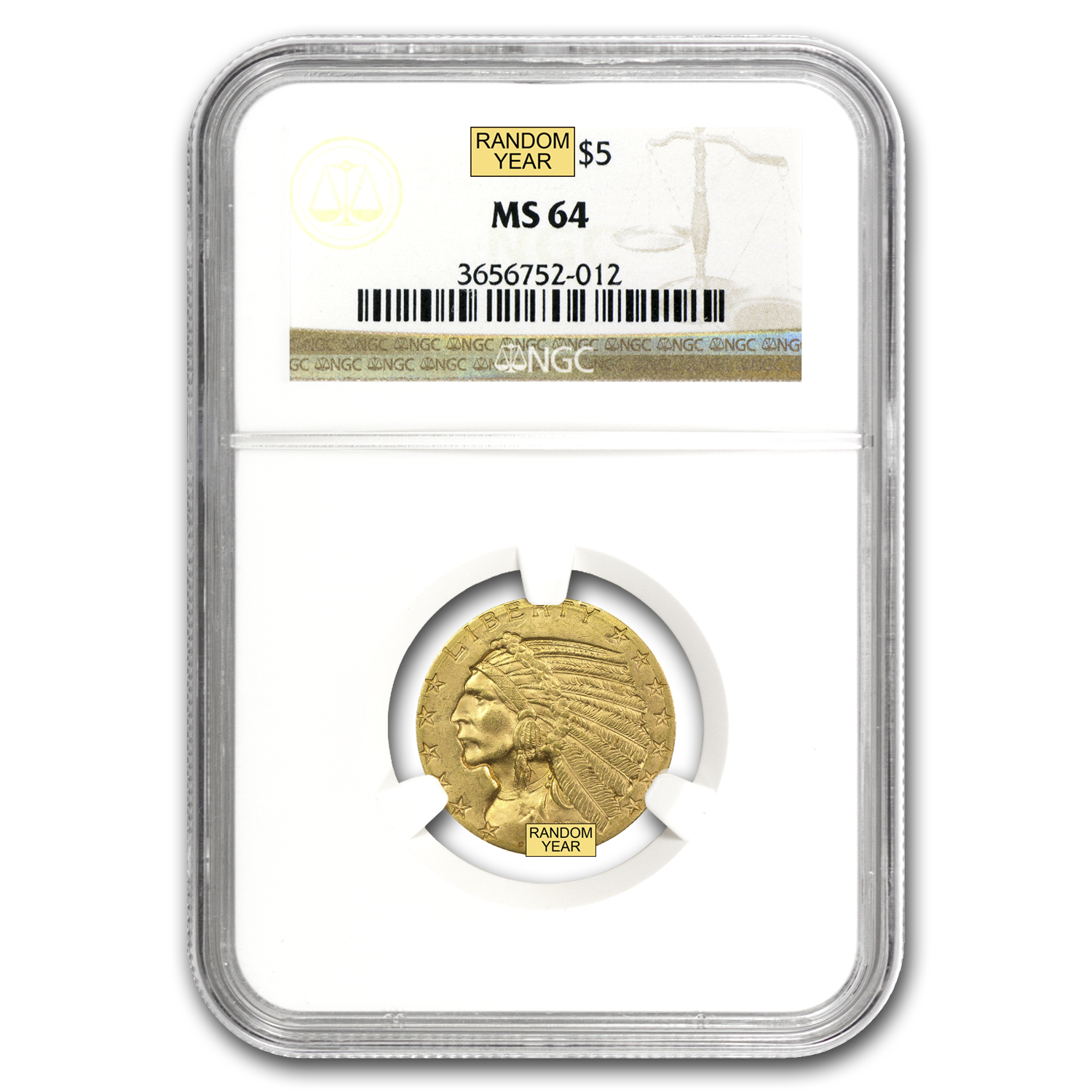 $5 Indian Gold Half Eagle MS-64 NGC